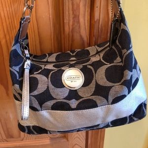 Coach denim and silver metallic shoulder hobo bag